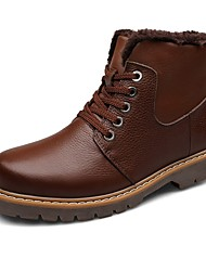 Men's Boots Snow Boots Fashion Boots Motorcycle Boots Real Leather Cowhide Nappa Leather Winter Athletic Casual Outdoor Hiking Lace-up