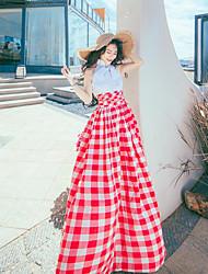 Feminino Flapper Anos 20 Vestido,Casual Estampado Gola Redonda Longo Sem Manga Algodão Verão Cintura Alta Sem Elasticidade Fina