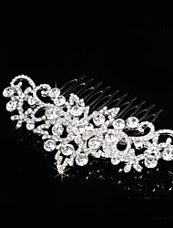 Fashion Wedding Women Bridal Hair Jewelry Accessories Clear Rhinestone Crystals Flower Long Hair Comb For Bride Tiara