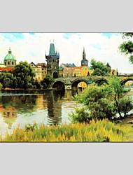 Pintada a mano Paisaje Abstracto Un Panel Lienzos Pintura al óleo pintada a colgar For Decoración hogareña