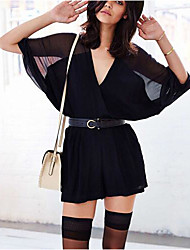 Women's Mid Rise Going out Casual/Daily Rompers,Sexy Loose Mesh Cut Out Solid Summer Fall