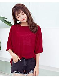 Damen Solide Einfach Lässig/Alltäglich T-shirt,Rundhalsausschnitt 3/4 Ärmel Nylon