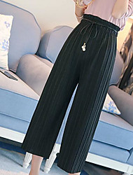 Feminino Simples Cintura Alta Elástico Perna larga Calças,Perna larga Sólido