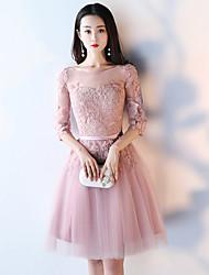 Princesse bijou col short / mini tulle cocktail robe de soirée brodée