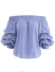 Damen Gestreift Sexy Einfach Niedlich Ausgehen Lässig/Alltäglich T-shirt,Bateau Sommer Halbe Ärmel Baumwolle Mittel