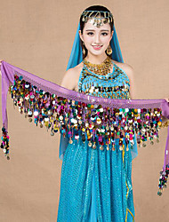 Belly Dance Hip Scarves Women's Performance Chiffon Sequin 1 Piece Hip Scarf