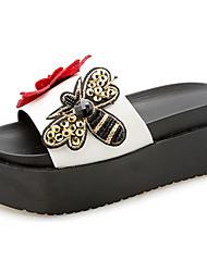 Women's Slippers & Flip-Flops Comfort Summer PU Walking Shoes Casual/Daily Flower Low Heel White Black 3in-3 3/4in