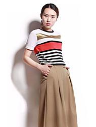 Tee-shirt Femme,Couleur Pleine Rayé Quotidien Vêtements de Plein Air Vintage simple Chic de Rue Printemps Eté Manches Courtes Col Arrondi