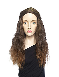 Capless Wig Deep Wave Long Brown Wig Costume Wig