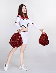 Cheerleader Costumes Outfits Women's Performance Knitwear Trims 2 Pieces Long Sleeve High Skirts Tops
