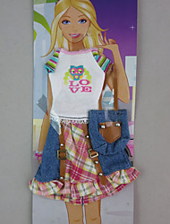Cut Top & Plaid Skirt Outfit For Barbie Doll For Girl's Doll Toy