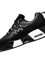 Feminino Tênis Sapatos de Berço Borracha Primavera Outono Sapatos de Berço Cadarço Rasteiro Fúcsia Branco/Preto Preto/VermelhoMenos de