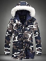 Пальто Уличный стиль Обычная На подкладке Для мужчин,камуфляж На каждый день Хлопок Полипропилен,Длинный рукав
