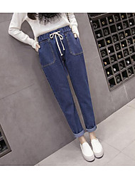 Women's Medium Waist Micro-elastic Jeans Pants,Chinoiserie Slim Pure Color Denim Solid Jeans