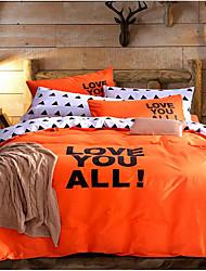 Duvet Cover Sets Solid 3 Piece Cotton Cloth Machine Made Cotton Cloth 1pc Duvet Cover 1pc Sham 1pc Flat Sheet
