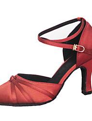 "Women's Modern Silk Sandal Performance Criss-Cross Stiletto Heel Brown Red 2"" - 2 3/4"" 3"" - 3 3/4"" Customizable"