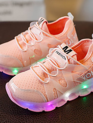 Kids Boys Girl's Sneakers Light Up Shoes Leather Tulle Spring Summer Fall Casual Outdoor Walking Light Up Shoes LED Low HeelBlushing Pink Black