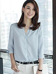 Для женщин Повседневные Рубашка V-образный вырез,Простое Однотонный Рукав 3/4,Полиэстер