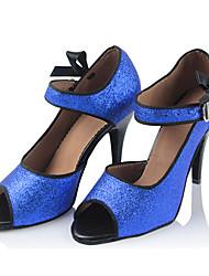 Damen Latin Seide Sandalen Sneakers Professionell Verschlussschnalle Stöckelabsatz Blau 5 - 6,8 cm Maßfertigung
