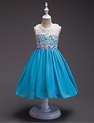 Vestido de menina de flor de joelho com uma linha de joias - gola de renda sem molho de renda com botão de renda