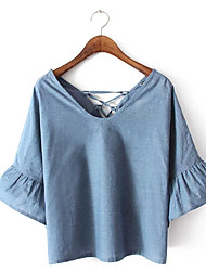 Damen Solide Einfach Alltag Normal T-shirt,V-Ausschnitt 3/4 Ärmel Polyester
