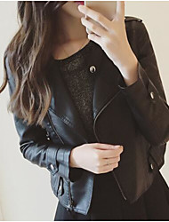 Women's Casual/Daily Simple Fall Leather Jacket,Solid Shirt Collar Long Sleeve Short Others