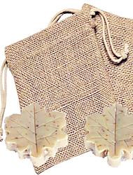 Mini Leaf Shape Soap Favor (2pcs in Burlap Bag) Beter Gifts® Handmade Wedding Souvenirs