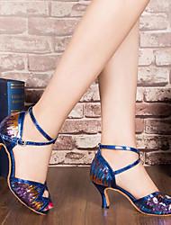 Damen Tanz-Turnschuh Echtes Leder PU Sandalen Sneakers Innen Blockabsatz Gold Silber Blau 5 - 6,8 cm
