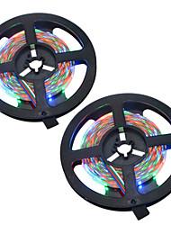 HKV® 1PCS 10M(2x5M) 36W 300 LED 3528 SMD NO-Waterproof RGB WhiteLight Normal Brightness Flexible LED Light Bar Strip DC 12V