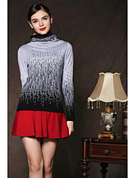 Women's Casual/Daily Simple Regular Pullover,Color Block Crew Neck Long Sleeves Cashmere Fall Medium Micro-elastic