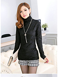 Women's Casual Simple Blouse,Solid High Neck Long Sleeve Cotton Medium