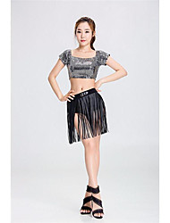 Jazz Traditional Women's Performance Polyester Tassel(s) 2 Pieces Short Sleeve High Tops Shorts