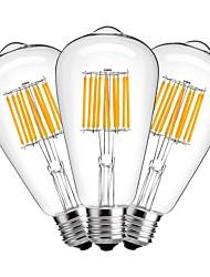 10W Ampoules à Filament LED ST64 10 COB 1000 lm Blanc Chaud Décorative AC 100-240 V 3 pièces