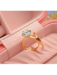 Women's Ring  Classic Elegant Rhinestone Titanium Steel Gold Plated RingJewelry For Wedding Engagement Anniversary Party/Evening