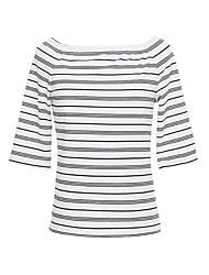 Tee-shirt Femme,Rayé Décontracté Vintage Eté Manches 3/4 Epaules Dénudées Brocart Fin
