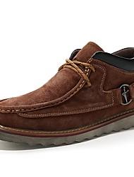 Men's Sneakers Comfort Spring Summer Fall Suede Walking Shoes Casual Split Joint Flat Heel Dark Blue Light Brown Dark Brown Flat