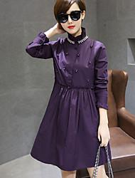 Chemise Femme,Couleur Pleine Quotidien simple Manches Longues Col Roulé Polyester