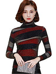 Tee-shirt Femme,Imprimé Décontracté / Quotidien simple Automne Hiver Manches Longues Col Roulé Coton Rayonne
