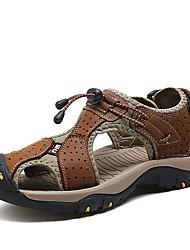 Masculino Sandálias Conforto Pele Real Verão Conforto Rasteiro Marron Azul Khaki Menos de 2,5cm