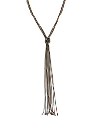 Lureme Simple Black Thin Chain Knot and Tassel Long Necklace for Women