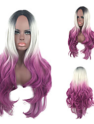 Three Tone Color BLACK GREY PURPLE Ombre Wig Body Wave Long Length Heat Resistant Synthetic Wig with Dark Root Capless Party Hair