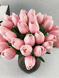 10 Ramo Couro Ecológico Toque real Tulipas Flor de Mesa Flores artificiais