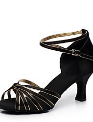 "Women's Latin Satin Heels Indoor Customized Heel Blue Black/Gold Purple Camel 2"" - 2 3/4"" Customizable"