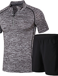 Men's Running T-Shirt with Shorts Short Sleeves Running Clothing Suits for Running/Jogging Exercise & Fitness Black+Gray