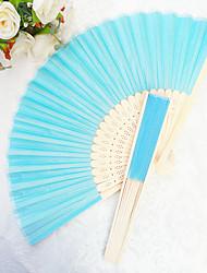 Bachelorette Silk Hand Fans Ladies Night Out Essentials 2.5*1.3*21 cm/pcs Aqua Blue The Same Sex Wedding Favor