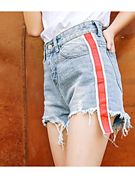 Women's Mid Rise Micro-elastic Jeans Shorts Pants,Sexy Cute Simple Slim Stripe Solid Jeans