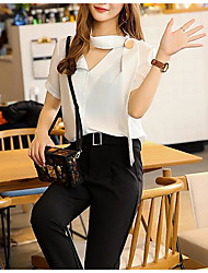 Women's Business Daily Formal Summer Blouse Pant Suits,Solid V Neck Short Sleeve Sequin Inelastic