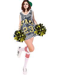 Costumes de Pom-Pom Girl Tenue Femme Spectacle Polyester 1 Pièce Sans manche Taille haute Robes