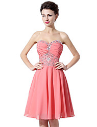Cocktail Party Dress Princess Strapless Knee Length Chiffon with