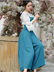 Women's High Waist Micro-elastic Wide Leg Overalls Pants,Chinoiserie Wide Leg Pure Color Solid
